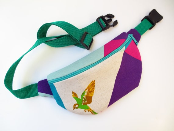 Color Blocks and Bird Fanny Pack Teal by FannypackSuperstar