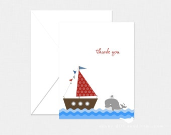 Sailboat Thank You Cards - Set of 4