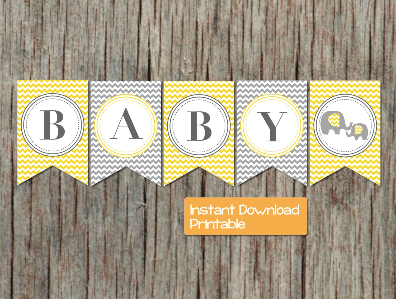 baby shower banner yellow grey chevron elephant printable