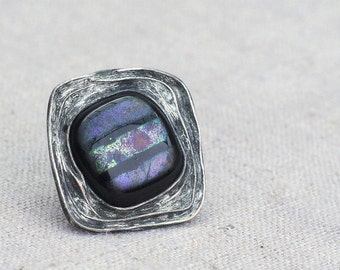 fused glass ring, dichroic glass, adjustable ring, handmade