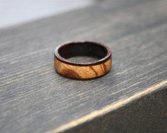 Mens Wedding Band Wood Ring Zebra Unique