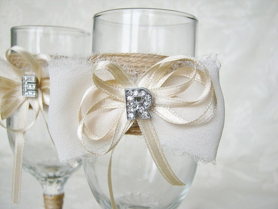 rustic wedding glasses personalized champagne flutes bride and groom