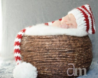 Newborn Christmas Red & White Candy Cane Striped Long-Tail Elf Hat- Made to Order