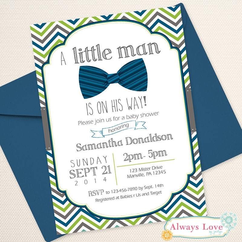 Little Man Bow Tie Mustache Mister Baby Shower