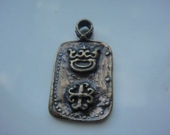 Solid bronze pendant with cross and crown, bronze cross and crown, bronze pendant