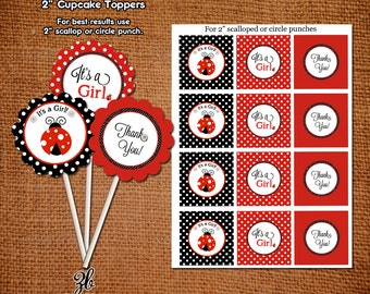 Ladybug Baby Shower Cupcake Toppers Lady Bug Red Black Polka Dot Pattern- Instant Download Digital File