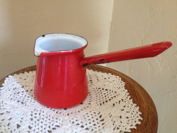 Large Turkish Coffee Maker : Vintage Large Red Enamel Ware Turkish Coffee Pot or Butter or