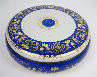 French vintage round lithographed tin box royal blue and white with gold arabesques. Vintage shabby tin. Storage tin. Sewing. Button box