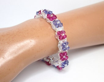 Tanzanite and fuchsia bracelet, floral bracelet, summer bracelet, flower bracelet, swarovski bracelet, pink and purple,