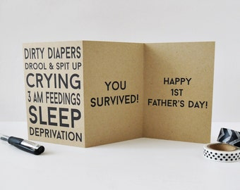 Funny First Father's Day Card / New Dad Card / Funny Father's Day Card / A1 Size / Charitable Donation