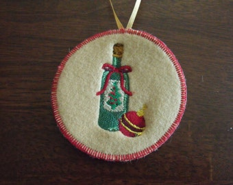 Wine Bottle Christmas Tree Ornament Wine Love Christmas Ornament Embroidered Christmas Tree Ornament Wine