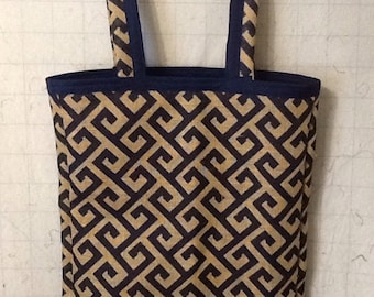 Geometric Pattern Burlap Handled Tote Navy and Natural  29 x 19 x 2