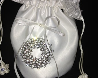 Bridal Money Bag, Wedding Money Purse, Bridal Bags, Ivory Satin Purse