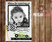 Racing Cars Birthday Photo Invitation | Card | Flag | DIY | Digital | Print file | invite | Party | Car | Race | Track | Speed | Bday