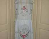 China Blue Vintage Drop Waist 1920's Style Great Gatsby Cotton Rose Lace and Embroidered Dress