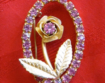 Pretty In Pink 1960's Rhinestone Floral Brooch Pin Gold tone - Free Shipping