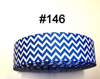 "2/3/5 yard - 1.5""  Blue and White Zig Zag Grosgrain Ribbon Hair bow"