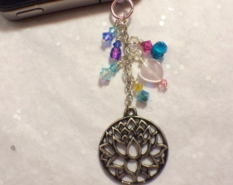 Lotus cell phone charm, dust plug charm