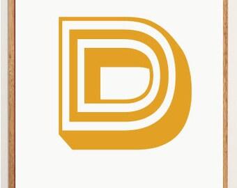 Mid-Century Modern Letter D