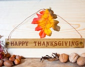 Happy Thanksgiving Holiday Signs with Polymer clay Inlay Copper hanging wire and holiday leaf