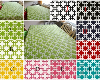 "Size 54 x 54"" Gotcha Chain Link TableCloth Colors: Yellow, Chartreuse, Navy Blue, Candy Pink, Red, Black & White"