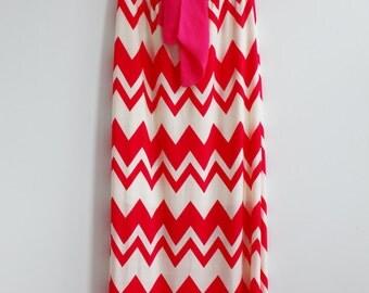 Clearance SALE Coral Chevron Maxi Dress Causal Chevron Maxi Dress Long Dress Summer Maxi Dress Maxi Dress