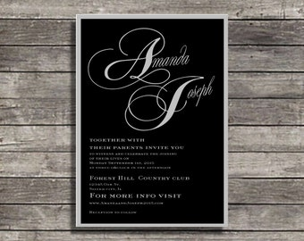 Black and gray grey wedding invitation suite  Suite, Custom Invites, Personalized invitations