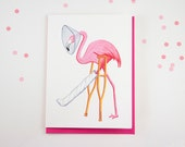 Get well card, Pink flamingo card