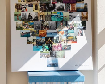 Heart Shaped Collage Canvas - 16x16 Inches 45 Photos - Personalised Gift for Her Him Birthday Present