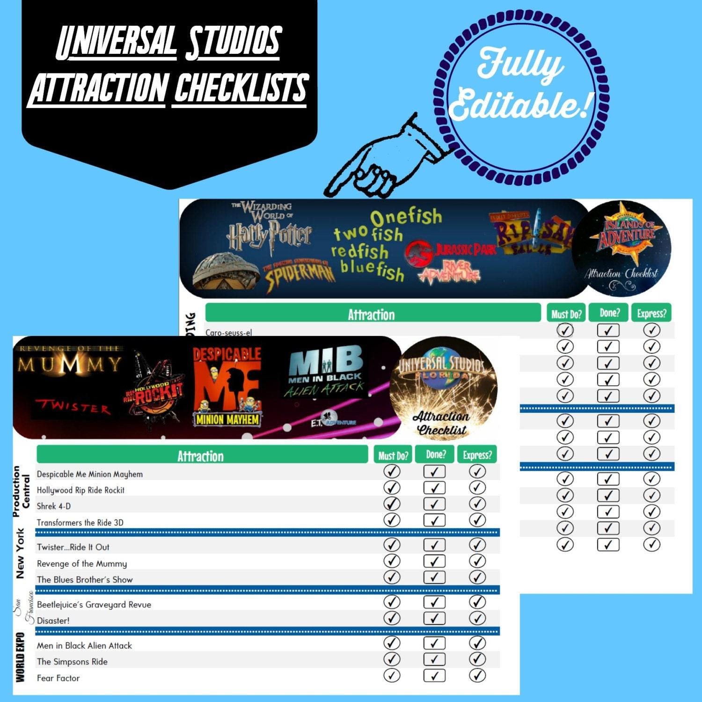 Universal Studios Orlando Attraction Checklist Florida