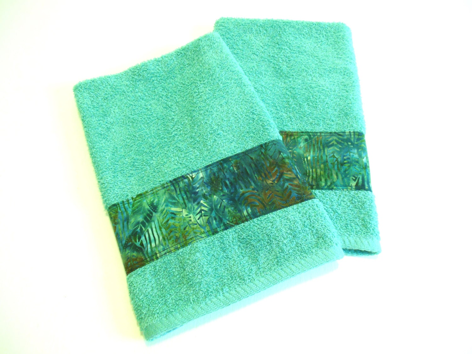 Teal batik hand towels decorative bathroom towels kitchen for Bathroom decorative towels
