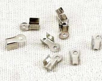 Crimp End Fastener Clip -400pcs Antique silver Clasp Clips Wholesale Jewelry Findings 3x4mm