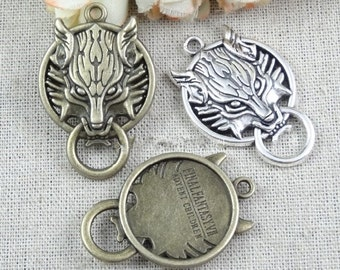 10 pcs of antique bronze or silver  wolf  head Charm Pendants 40x26mm