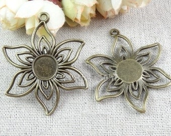 Cabochon Base -10pcs Antique bronze flower Cabochon Setting  Charm Pendants 10mm