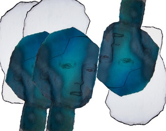 Abstract Blue and White Art Print, Teal Wall Art, Modern Home Decor Artwork