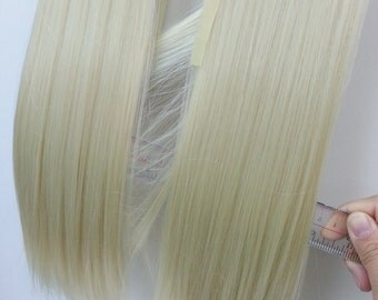 W203_613 Light Blonde Long Straight clip on Ponytail hair extension Cosplay Custome Party Carnival Cheerleader X 2pcs