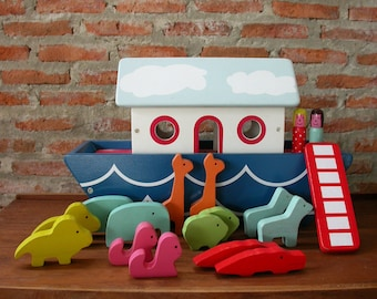 Wood Toy, Wood Boat, Noah's Ark Boat, Habitat Wooden Toys. Unique, Wooden Toys, Kids Toys, Toys Crafted, Wooden Doll, Animal Toys.