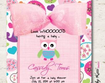 Owl Baby Shower Invitation Girl