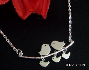 Sterling silver, Family Bird on branch necklace, charm necklace for mom, sister,grandmother, Affordable christmas gift,