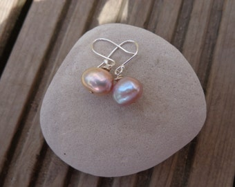 AA+Natural Pearl earrings with sterling silver shepherds hook OR post & butterfly fittings