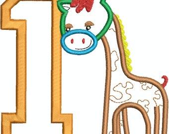 Giraffe 1st Birthday Applique