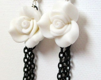 Intricate White Rose and Black Chain Fringe Earrings