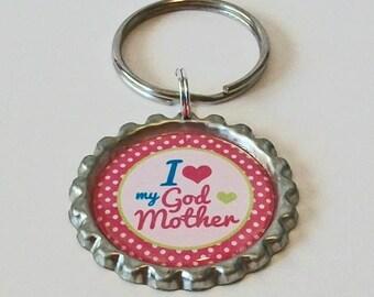 Pink Polka Dot My God Mother Rocks Metal Flattened Bottlecap Keychain