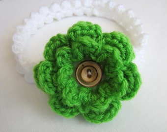 Crochet PATTERN - Baby Blossoms Headband - With Flower - Pattern