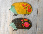 Woodland baby hedgehog wall sculpture with two color options, hedgehog sign, hedgehogs by Kimberly Hodges, handpainted wood sculptures