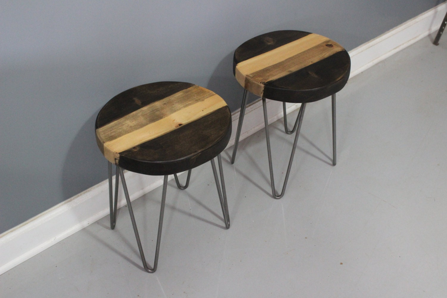 Amazing photo of Round Wooden Bar Stool with Hairpin Legs Industrial by DendroCo with #846947 color and 1500x1000 pixels