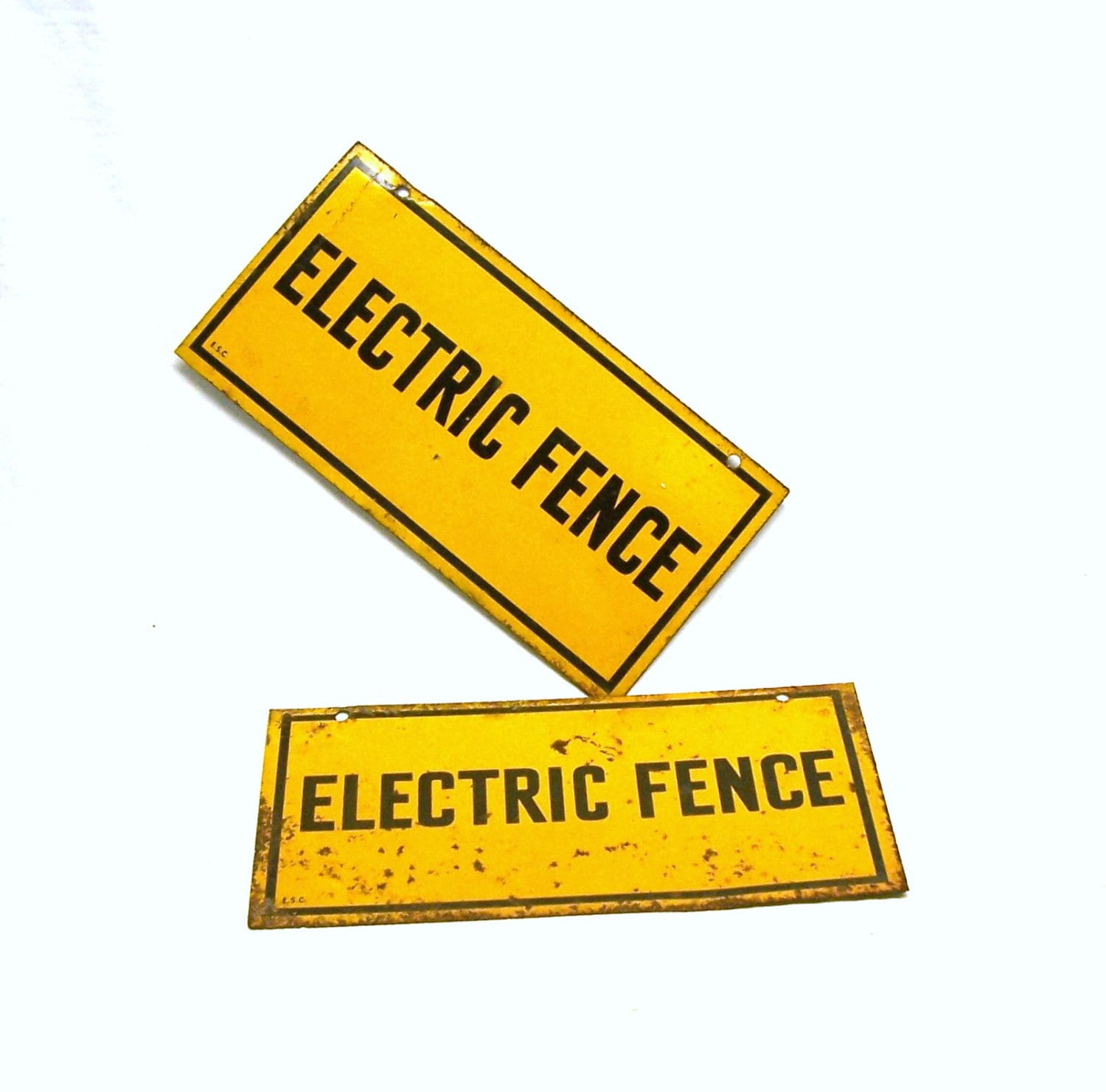 Warning Electric Fence Caution Yellow Signs Lot Of By