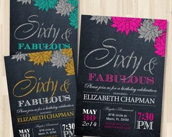 Adult Birthday Printable invitation. Woman in 30th - 40th - 50th - 60th - 70th Birthday Party Invitation / DIY / Chalkboard Theme Invitation