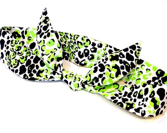 Knotted Cooling Headband,Gel Neck Cooler Bandana Scarf,Stay Cool Tie Wrap Head Heat Relief Cooling Hairband Lime Green Black Spots iycbrand