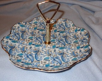 Vintage Lefton  Blue Paisley China Tidbit Tray, Signed